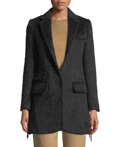 Maxmara One-Button Wool-Alpaca Coat w  Fringe b0e9a9c2e914c