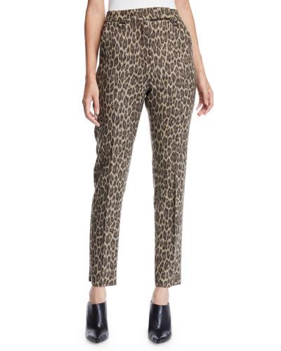 High-Rise Leopard-Print Straight-Leg Wool Pants