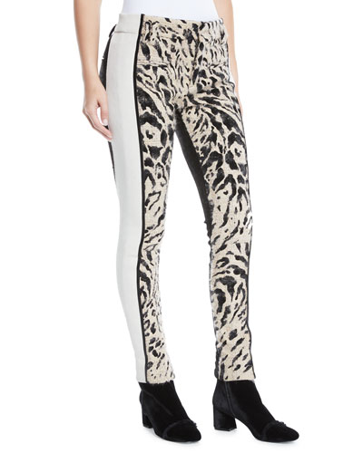 Leopard-Print Colorblocked Skinny Pants