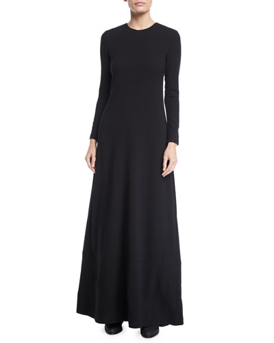 Jewel-Neck Long-Sleeve Heavy Crepe Column Evening Gown