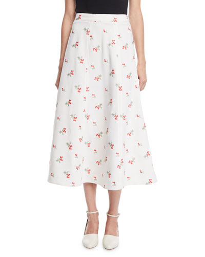 Floral-Embroidered Trumpet Midi Skirt