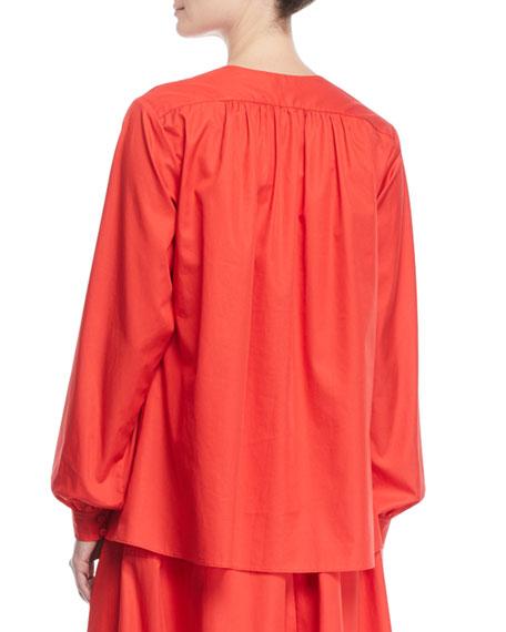 Split-Neck Bib Long-Sleeve Light-Twill Tunic Blouse