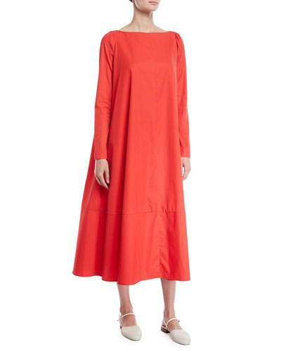 Boat-Neck Long-Sleeve A-Line Light-Twill Cotton Midi Dress