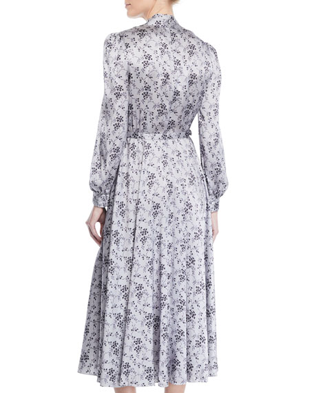 Tie-Neck Long-Sleeve Floral-Print Silk Charmeuse Midi Dress
