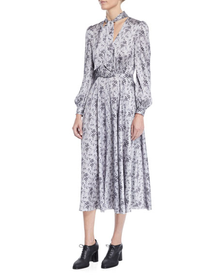 Co Tie-Neck Long-Sleeve Floral-Print Silk Charmeuse Midi Dress