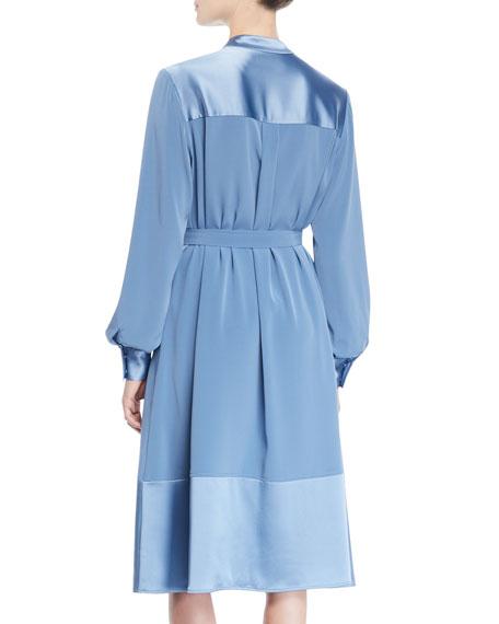 Button-Shoulder Long-Sleeve Stretch-Crepe Dress w/ Satin