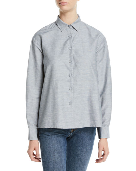 Button-Front Long-Sleeve Pleated-Back Slub Linen Swing Shirt