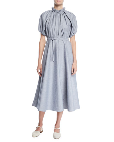 Ruffled-Neck Gathered-Top Belted Slub Linen Midi Dress