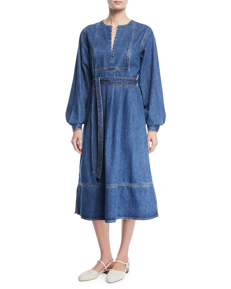 Image 1 of 1: Split-Neck Blouson-Sleeve Denim Midi Dress w/ Self Belt