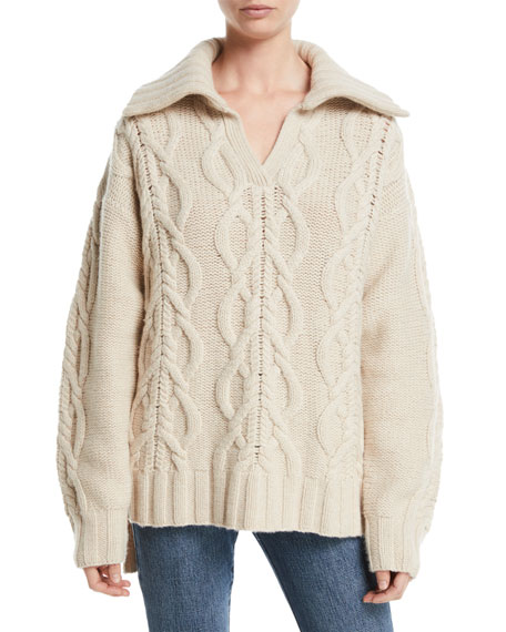 V-Neck Long-Sleeve Cable-Knit Cashmere-Blend Sweater w/ Ribbed