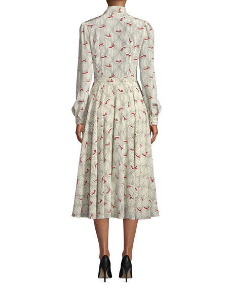 Bow-Neck Hat Print Silk Midi Dress