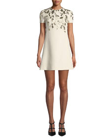 Golden Floral Embroidered Crepe Dress by Valentino
