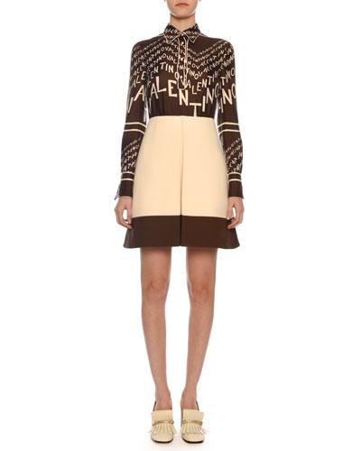 Long-Sleeve A-Line Chevron Logo-Print Silk Twill Dress
