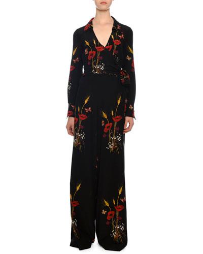 Tie-Waist Wide-Leg Floral-Meadow Silk Crepe de Chine Jumpsuit
