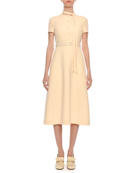 Short-Sleeve Button-Bib A-Line Crepe Midi Dress w/ V-Logo Belt