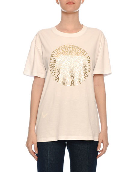 Golden Vertigo Print Short-Sleeve Crewneck Cotton Jersey T-Shirt