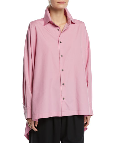 Oversized High-Low Button-Front Shirt