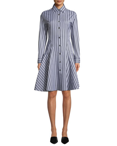 Button-Front Long-Sleeve Striped Shirting Dress