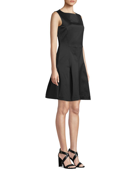 Round-Neck Sleeveless Fit-and-Flare Dress