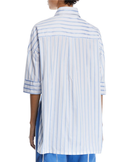 15d3f5b50a Derek Lam Short-Sleeve Button-Down Striped Satin Shirt