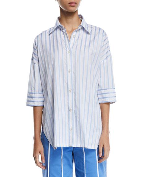 Derek Lam Short-Sleeve Button-Down Striped Satin Shirt