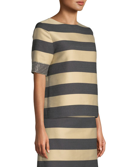 Studded Short-Sleeve Awning-Stripe Cotton Top