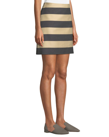 Awning-Stripe A-Line Mini Skirt