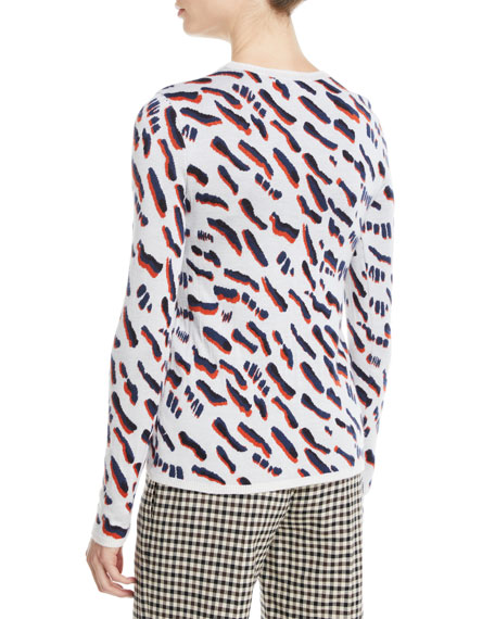 Abstract Animal-Jacquard Fitted Crewneck Sweater