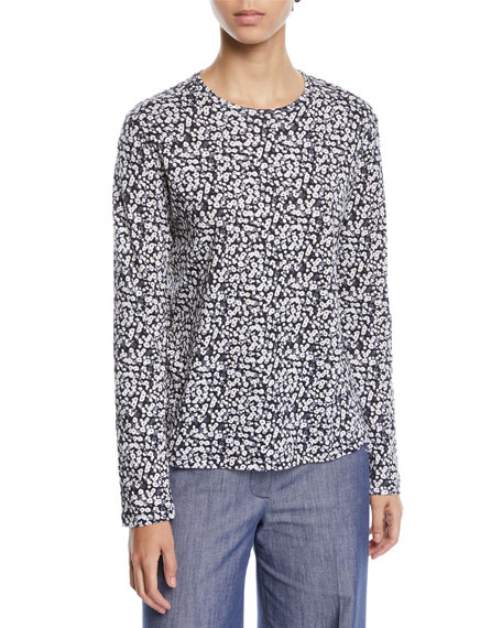 Crewneck Long-Sleeve Poppy-Print Cotton Tee