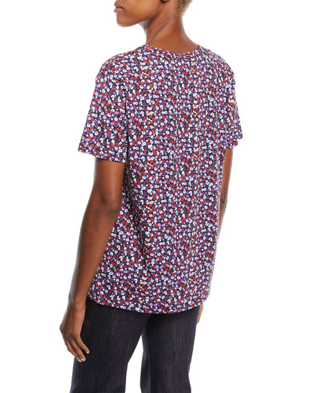 Crewneck Short-Sleeve Poppy-Print Tee