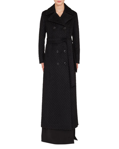 Long Double-Breasted Tie-Waist Chevron Wool-Alpaca Coat
