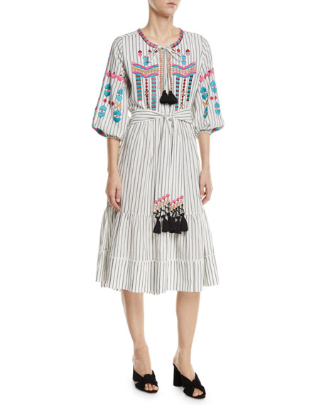 Figue Noor Embroidered Pinstriped Peasant Dress