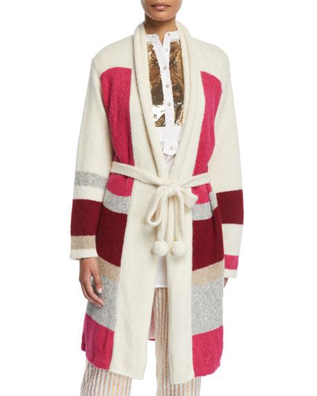 Yara Colorblocked Sash-Waist Cardigan