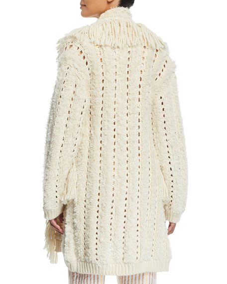 Mila Chunky-Crochet Fringed Open-Front Cardigan