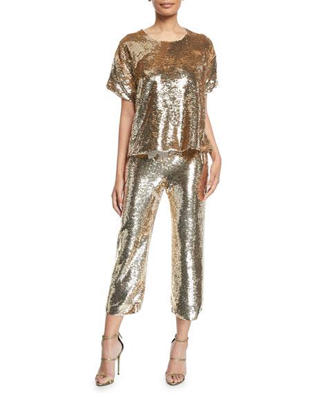 Verushka Golden-Sequin Crop Pants