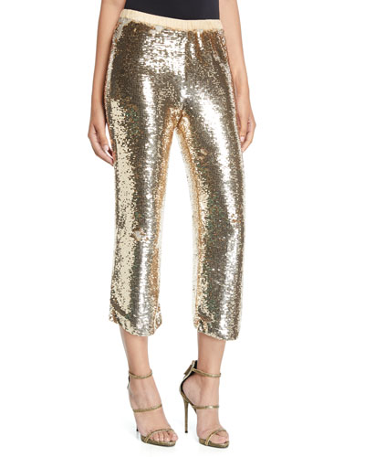Verushka Golden-Sequin Crop Pants