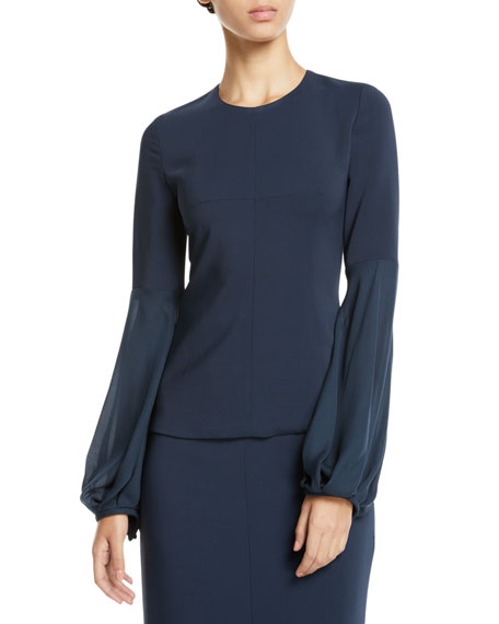 Crewneck Silk Blouson-Sleeve Top