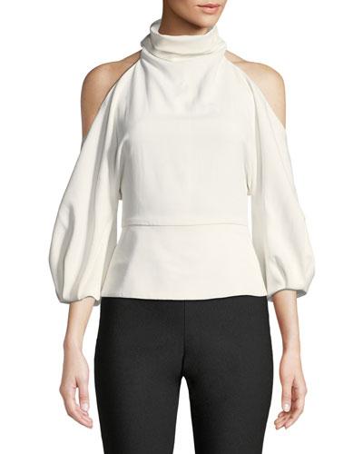 Turtleneck Cold-Shoulder Blouson-Sleeve Stretch-Fabric Top