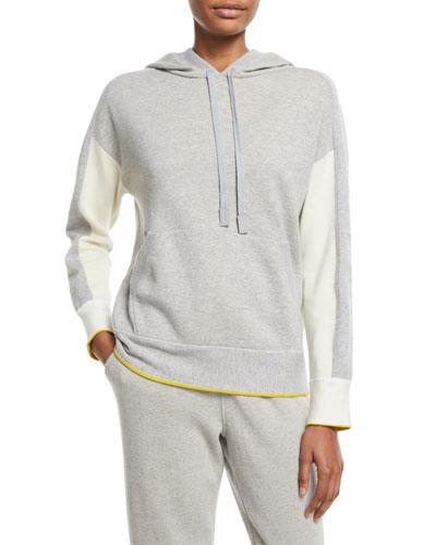 Drawstring-Hood Colorblock Cashmere Sweatshirt