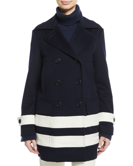Loro Piana Double-Breasted Striped Wool Pea Coat