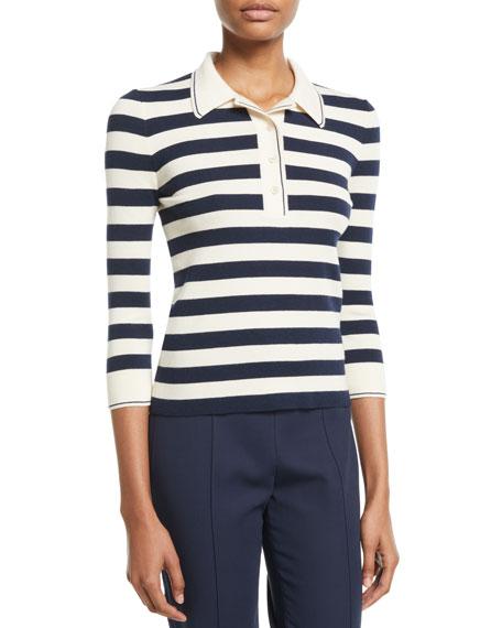 Loro Piana 3/4-Sleeve Striped Cashmere-Silk Polo Top