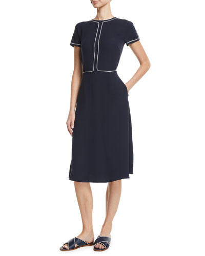 Short-Sleeve Fit-and-Flare Silk Midi Dress w/ Topstitching