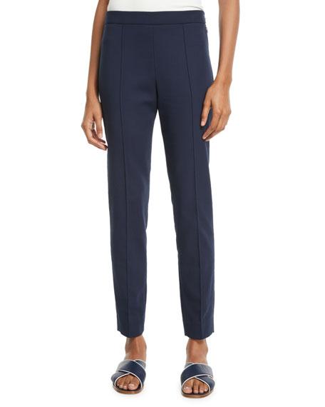 Side-Zip Skinny-Leg Cotton Ankle Pants