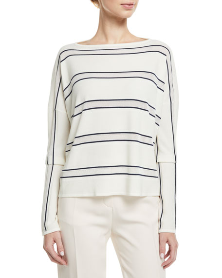 Loro Piana Boat-Neck Large-Stripe Cashmere-Silk Sweater