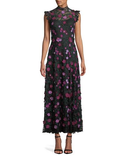 High-Neck Sleeveless A-Line Long Floral-Lace Evening Dress