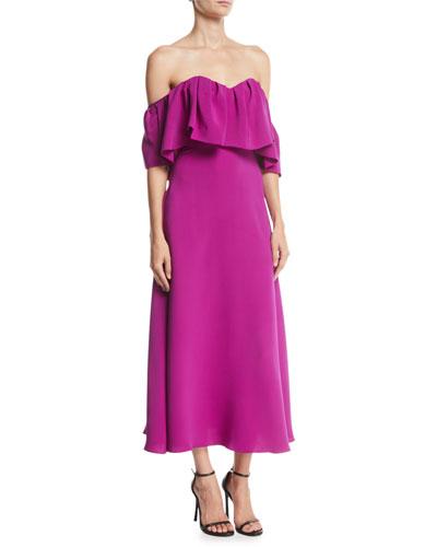 Off-the-Shoulder Ruffle A-Line Silk Dress