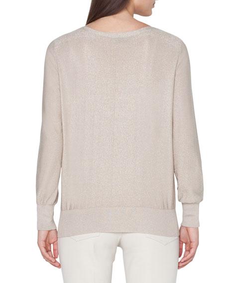 Crewneck Metallic-Knit Pullover Sweater