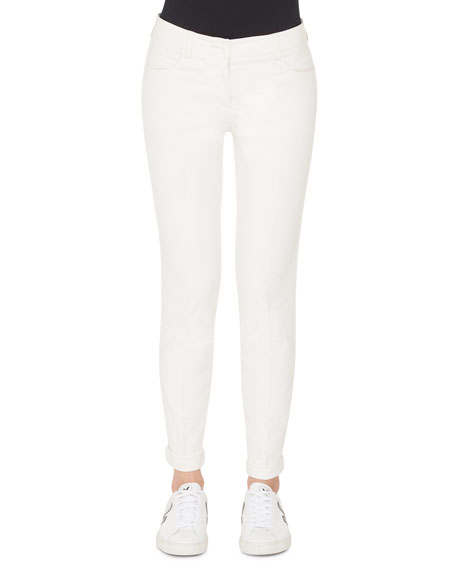 Mid-Rise Slim-Leg Cotton-Silk Denim Pants in White