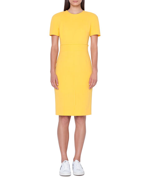 Zip-Waist Short-Sleeve Wool Sheath Dress