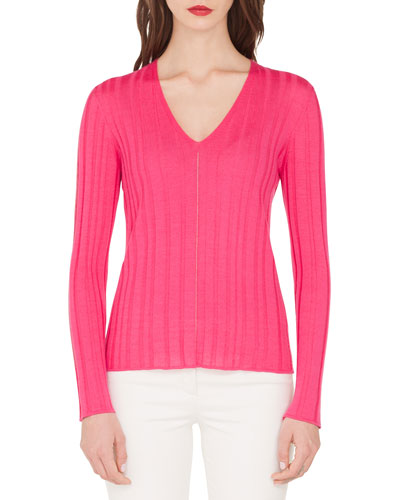Fine-Ribbed V-Neck Sweater